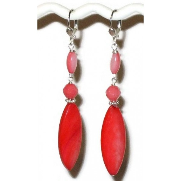 Coral Earrings with Marquise-Shaped Mother-of-Pearl Beads