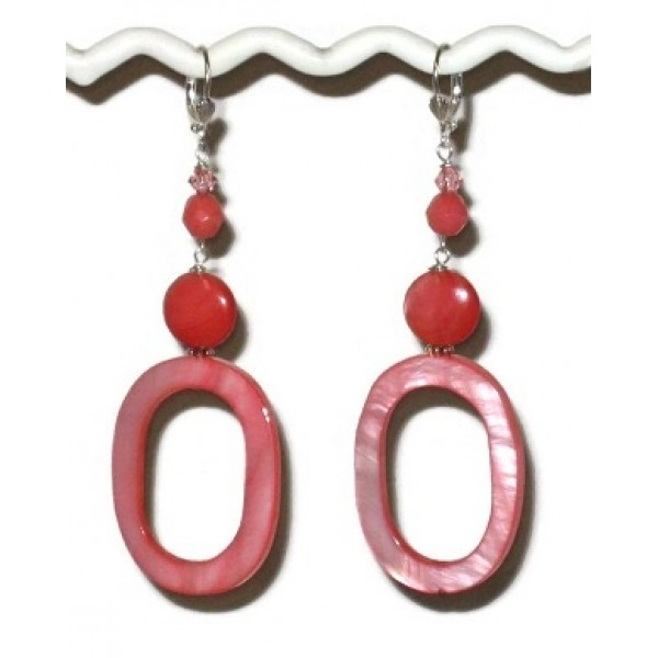Coral Earrings with Mother-of-Pearl Ovals