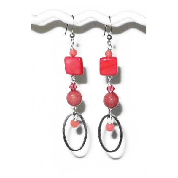 Coral Sterling Silver Dangle Earrings