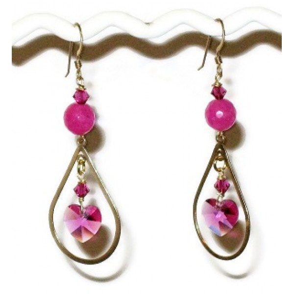 Fuchsia and Gold-Filled Earrings