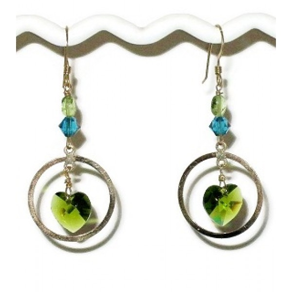 Olive Green,Teal Crystal and Peridot Gold Filled Earrings