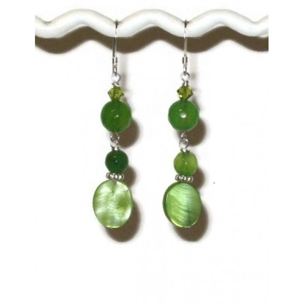 Lime and Apple Green Dangle Earrings