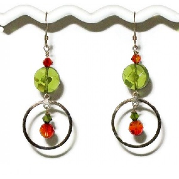 Green and Red Orange Earrings with Gold Filled Components