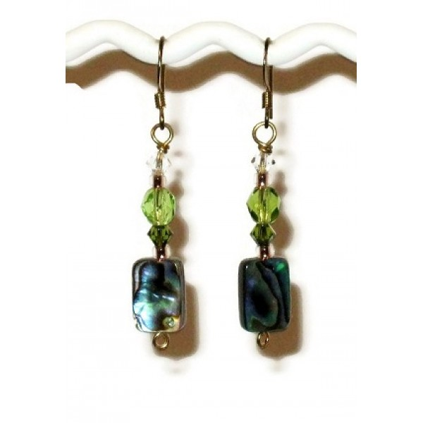 Green Earrings with Abalone Beads