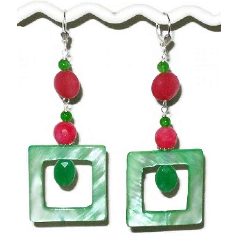 Green And Watermelon Pink Jade Mother Of Pearl Earrings