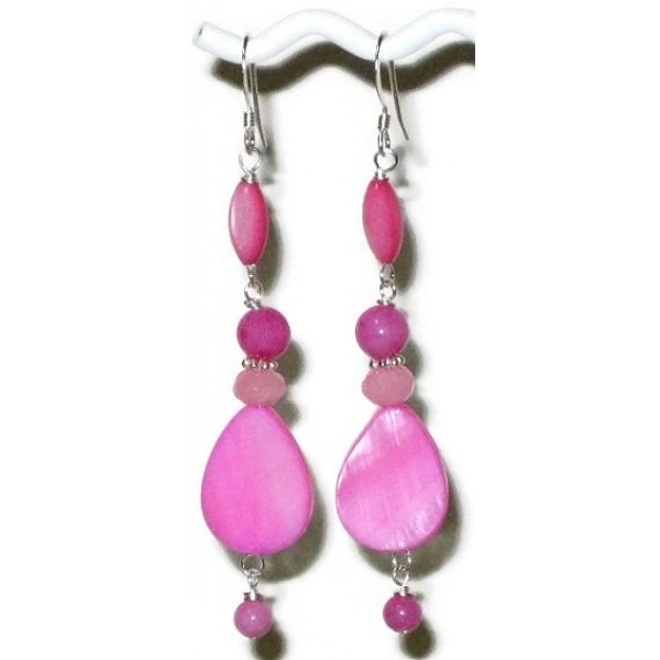 Hibiscus and Light Rose Pink Earrings