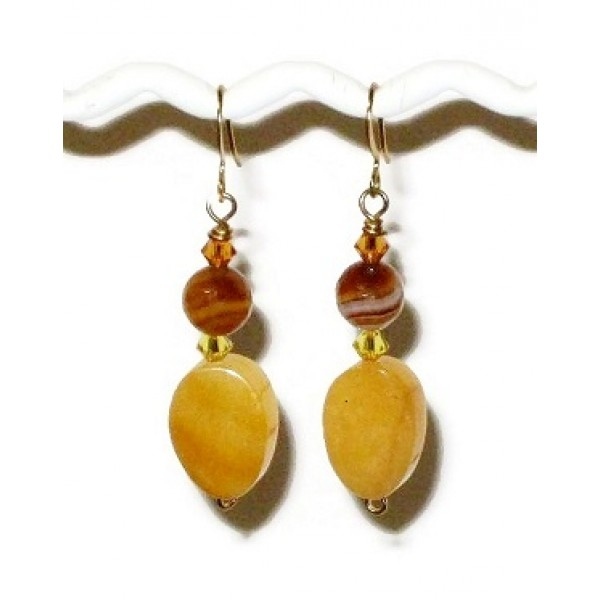 Honey Yellow and Amber Dangle Earrings
