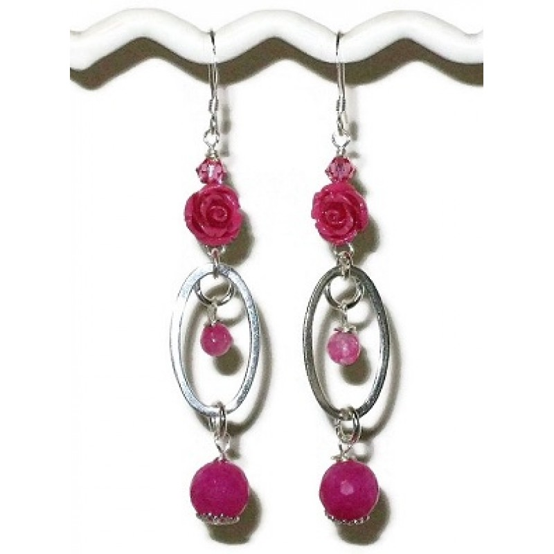 Hot Pink Sterling Silver Earrings With Carved Flowers