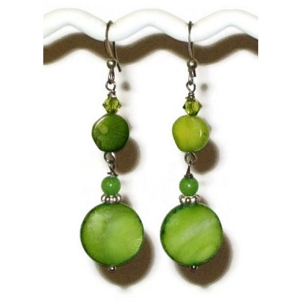 Lime Green Dangle Earrings with Coral Bamboo Semi-Precious Beads