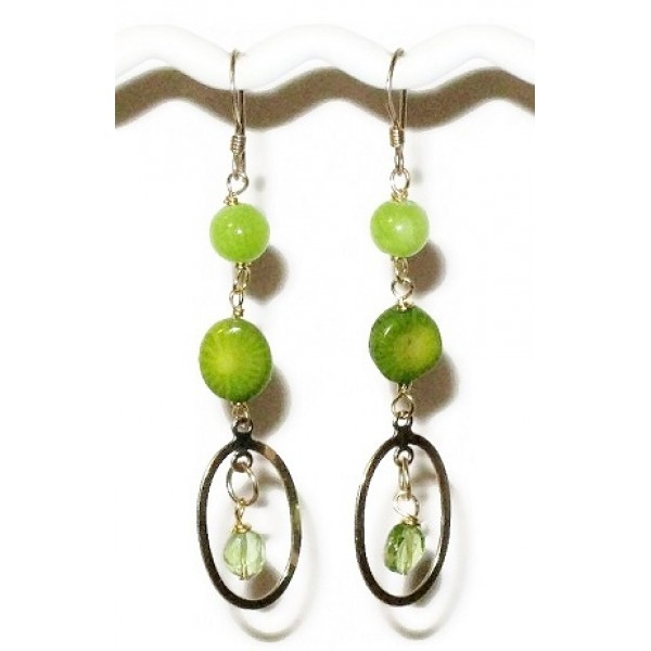 Lime Green and Gold-Filled Earrings