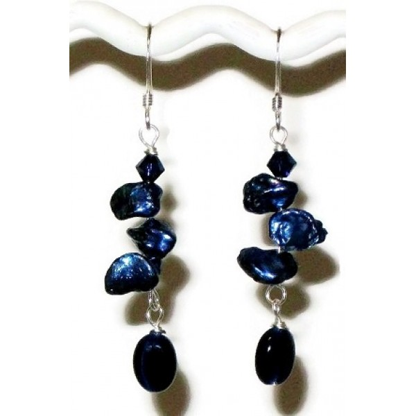 Navy Blue Keshi Pearl Wedding Earrings