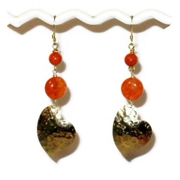 Orange and Gold Hammered Heart-Shaped Dangle Earrings