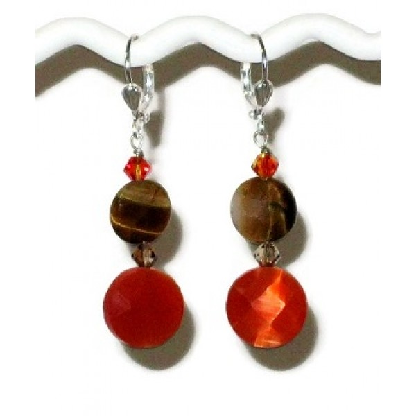 Orange and Tiger Eye Earrings