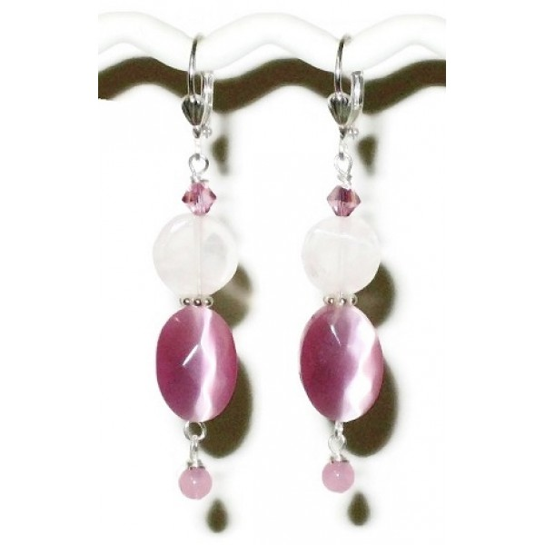 Pink Dangle Earrings with Rose Quartz Beads