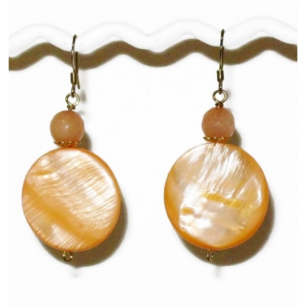 Peach Coin-Shaped Mother-of-Pearl and Jade Earrings