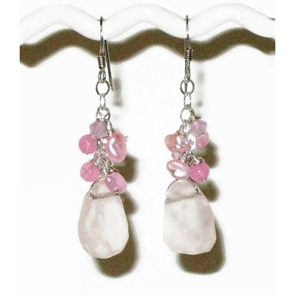 Pink Bridesmaid Earrings with Rose Quartz Briolette Stones