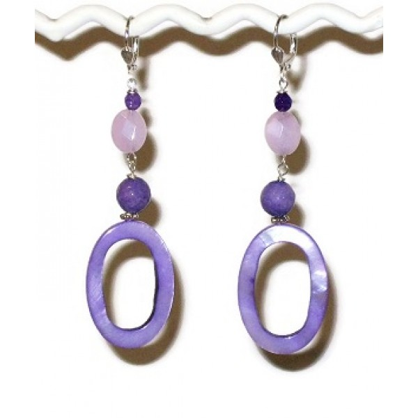Purple Earrings with Mother-of-pearl Ovals
