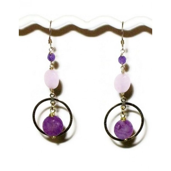Purple and Gold Filled Earrings