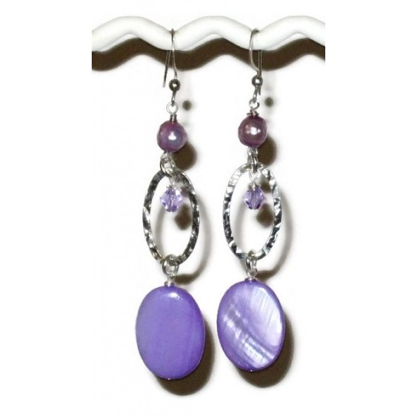 Purple and Sterling Silver Earrings