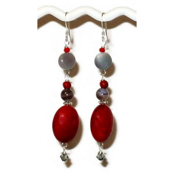 Red and Gray Earrings with Botswana Beads