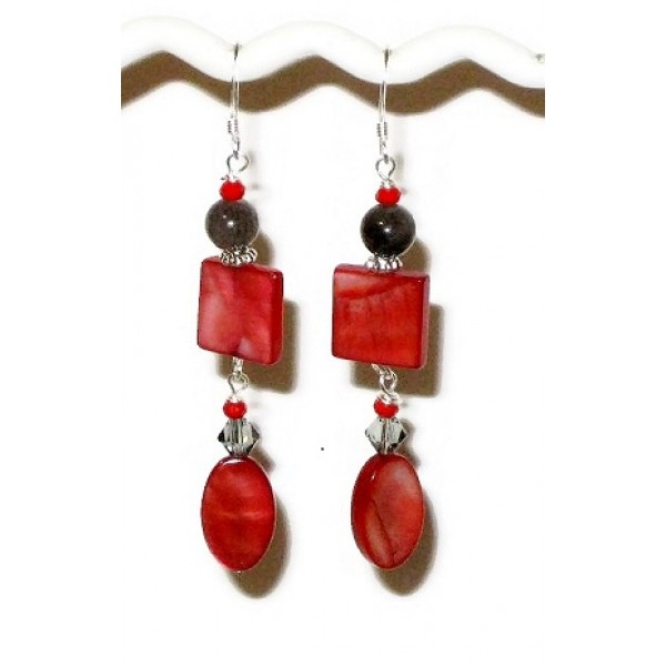 Red and Gray Earrings with Mother-of-Pearl Beads
