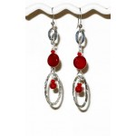 Red Sterling Silver Earrings with Semi-Precious Beads