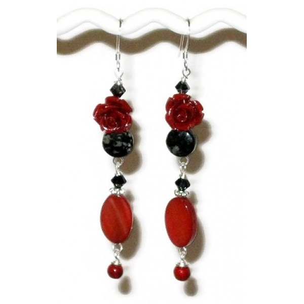 Red, Gray and Black Flower Earrings