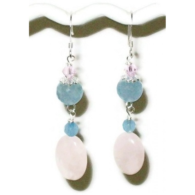 Rose Quartz And Baby Blue Jade Earrings
