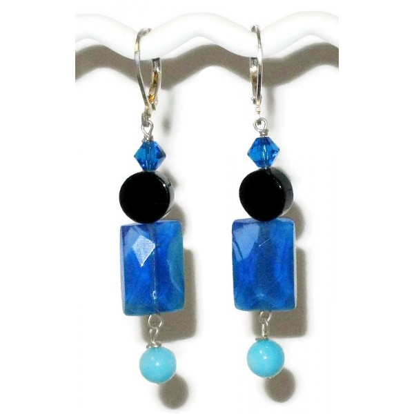 Turquoise, Sapphire and Black Onyx Earrings