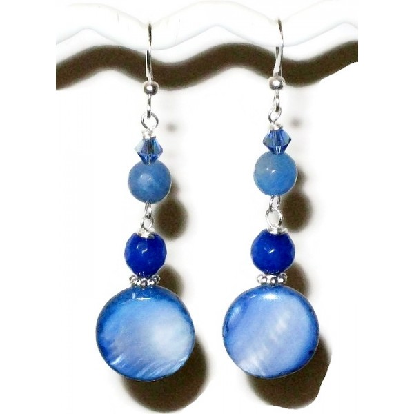 Blue Beaded Dangle Earrings