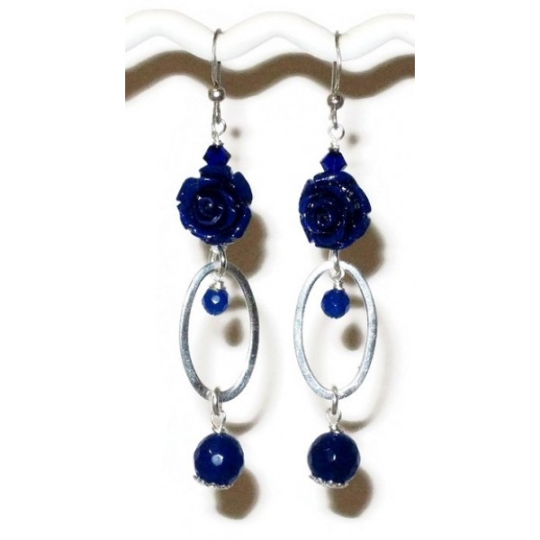 Sterling Silver Lapis Blue-Colored Flower Earrings