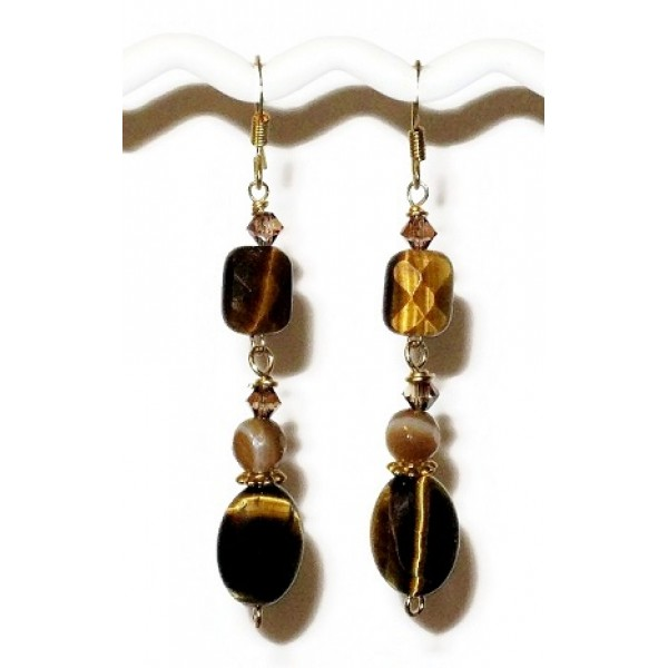 Tiger Eye and Agate Earrings