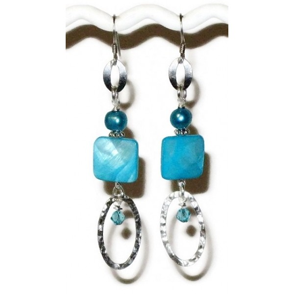 Sterling Silver Cyan Turquoise Blue Earrings