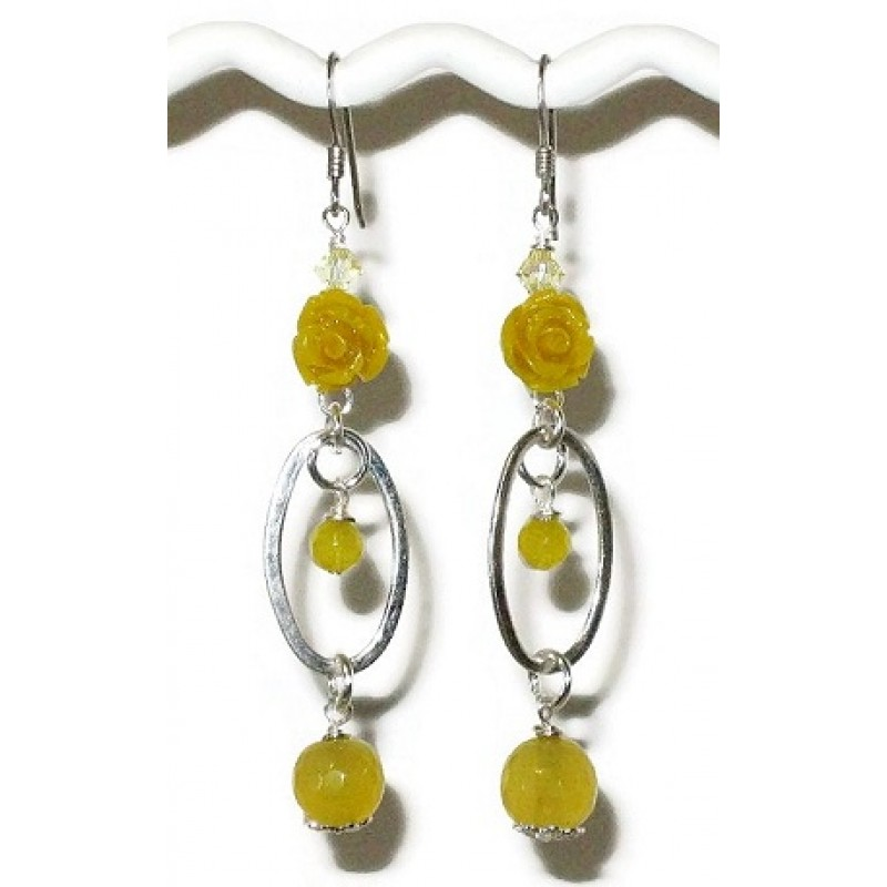 Yellow sterling silver carved flower dangle earrings yellow sterling silver flower earrings mightylinksfo