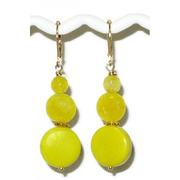 Yellow Agate and Jade Drop Earrings