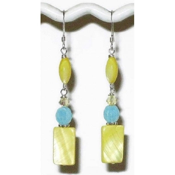 Yellow and Sky Blue Dangle Earrings