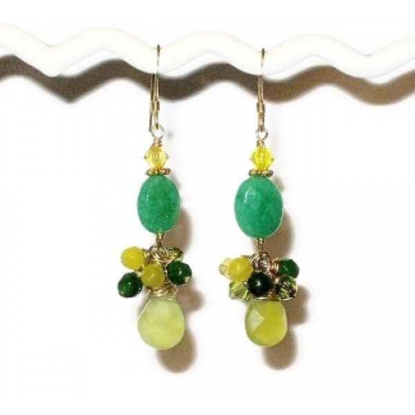 Green and Yellow Jade Cluster Earring