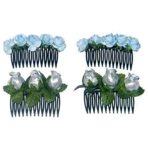 4-Piece Baby Blue and Silver Flower Hair Comb Set