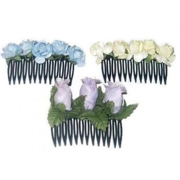 Yellow, Purple and Blue 3-Piece Flower Comb Set