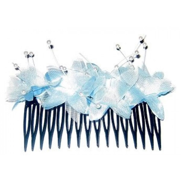 Powder Blue Flower Comb