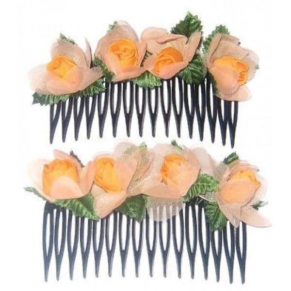 Orange 2-Piece Flower Comb Set