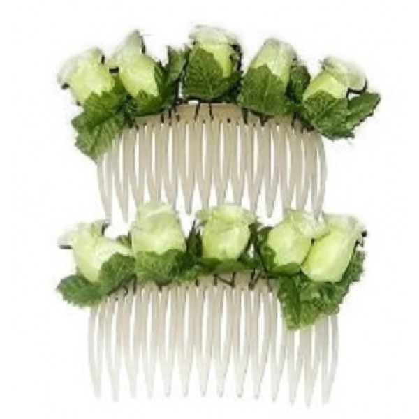 2-Piece Pale Yellow Flower Comb Set