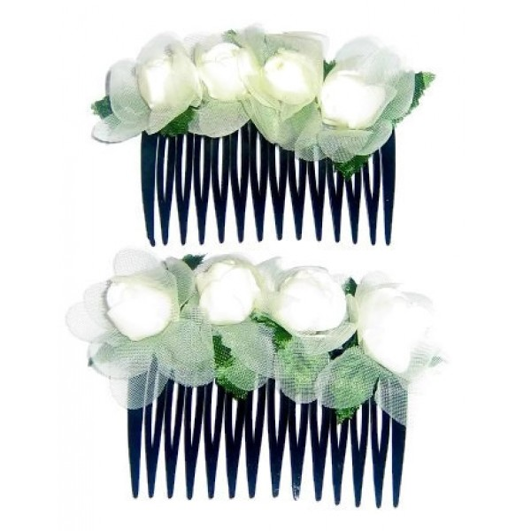 2-Piece Cream-Colored Flower Hair Comb Set