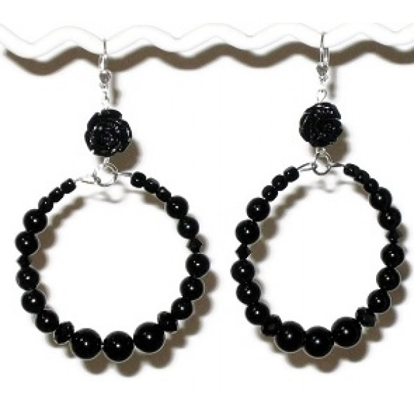 Black Flower Semi-Precious Hoop Earrings