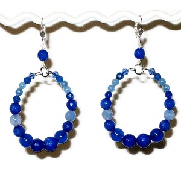 Blue Blend Semi-Precious Hoop Earrings
