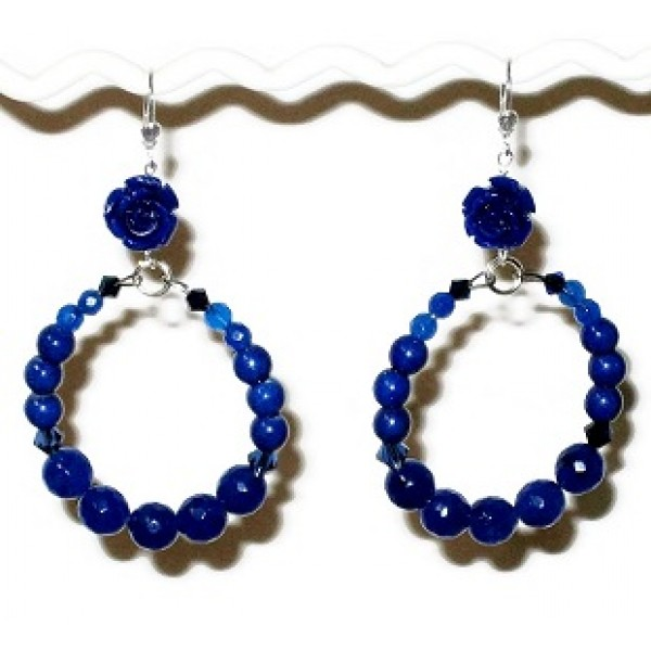 Blue Flower Semi-Precious Hoop Earrings