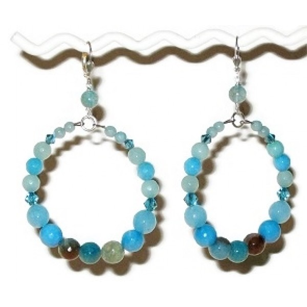 Island Blue, Turquoise and Aqua Semi-Precious Hoop Earrings