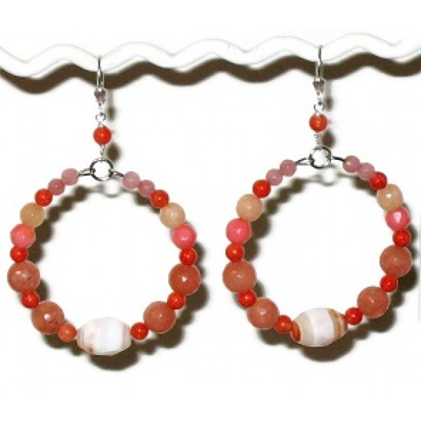 Coral, Peach and Cream Semi- Precious Hoop Earrings