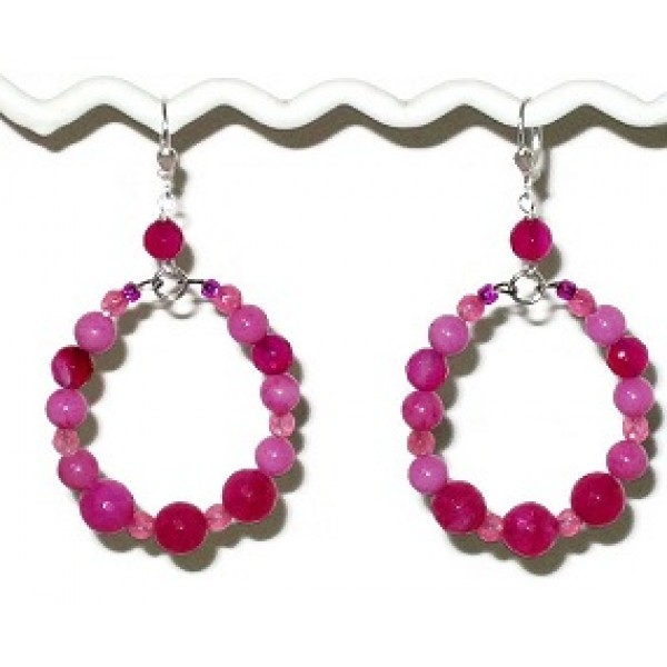 Fuchsia and Hot Pink Semi-Precious Beaded Hoop Earrings