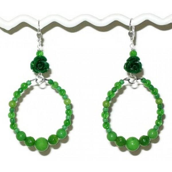 Green Flower Semi-Precious Hoop Earrings